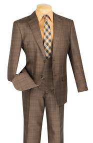 Vinci 2-Button Glenplaid with Low Cut Vest Suit - Chestnut