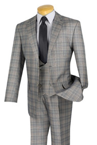 Vinci 2-Button Glenplaid with Low Cut Vest Suit - Grey