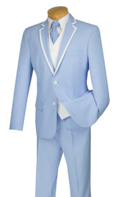 Vinci 2-Button Powder Blue Fancy Pinstripe Suit with Vest Suit - Slim Fit