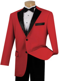 Lucci Red with Black Contrasting Notched Collar Tuxedo - Pleated Slacks