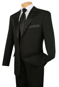 Lucci Classic Black 2-Button Budget Tuxedo - Pleated Slacks