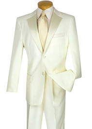 Lucci Classic Ivory 2-Button Budget Tuxedo - Pleated Slacks