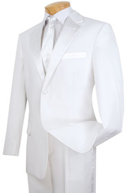 Lucci Classic White 2-Button Budget Tuxedo - Pleated Slacks