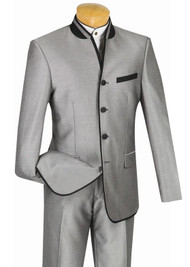 Vinci Grey Banded Collar Two-Tone Fashion Suit - Slim Fit