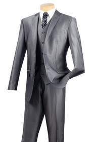 Vinci 2-Button Grey Sheen Suit with Vest - Slim Fit