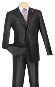 Vinci 2-Button Black Sheened Suit with Vest - Slim Fit