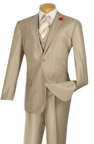 Vinci 2-Button Beige Sheened Suit with Vest - Slim Fit