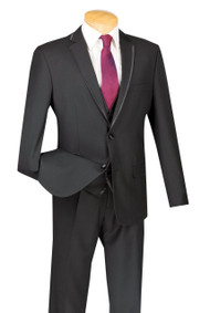 Vinci 2-Button Trimmed Black Suit with Vest - Slim Fit