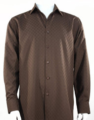 Bassiri Diamond Weave Sleeve Camp Shirt - Brown