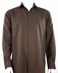 Bassiri Diamond Weave Sleeve Camp Shirt - Brown