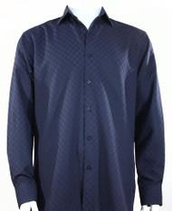 Bassiri Diamond Weave Sleeve Camp Shirt - Dark Blue