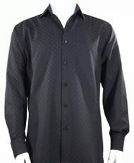 Bassiri Diamond Weave Sleeve Camp Shirt - Black