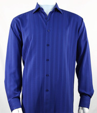 Bassiri Royal Multi Stripe Long Sleeve Camp Shirt