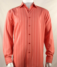 Bassiri Melon Tone Multi-Stripe Long Sleeve Camp Shirt
