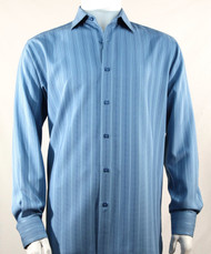 Bassiri Bright Blue Multi-Stripe Long Sleeve Camp Shirt
