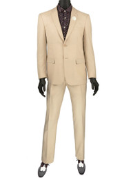 Vinci 2-Button Champagne Suit with Satin Trim - Ultra Slim Fit