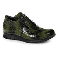 Mauri Genuine Multi-Green Crocodile Sneakers with Black Tread Sole