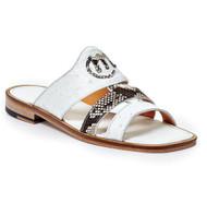Mauri Genuine Ostrich Quill & Python White Sandal