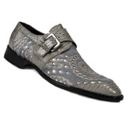 Mauri Genuine Lizard and Cow Hair Grey Buckle Dress Shoe