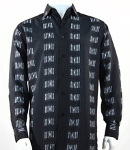 Bassiri Black Muted Block Long Sleeve Camp Shirt