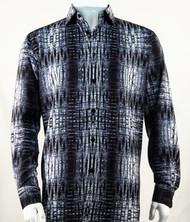 Bassiri Charcoal Abstract Design Long Sleeve Camp Shirt