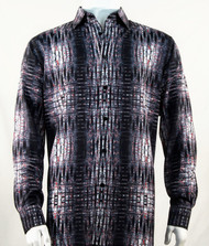 Bassiri Charcoal & Red Abstract Design Long Sleeve Camp Shirt