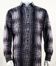 Bassiri Charcoal & Red Abstract Design Long Sleeve Camp Shirt