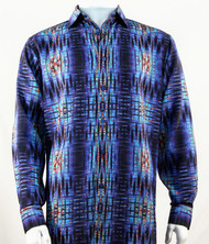Bassiri Blue Abstract Design Long Sleeve Camp Shirt