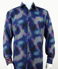 Bassiri Royal Abstract Swirl Design Long Sleeve Camp Shirt