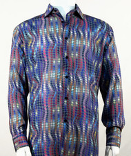 Bassiri Abstract Swirl Design Long Sleeve Camp Shirt