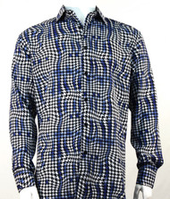 Bassiri Blue Houndstooth Design Long Sleeve Camp Shirt