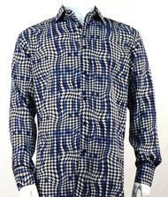 Bassiri Blue Houndstooth Design Long Sleeve Camp Shirt
