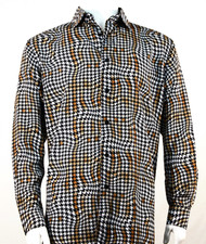 Bassiri Gold Houndstooth Design Long Sleeve Camp Shirt