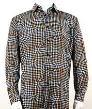 Bassiri Gold Houndstooth Design Long Sleeve Camp Shirt