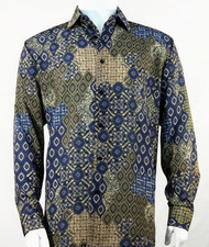 Bassiri Gold & Blue Baroque Pattern Long Sleeve Camp Shirt
