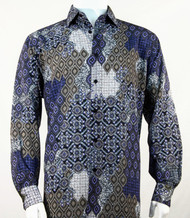 Bassiri Blue & Taupe Baroque Pattern Long Sleeve Camp Shirt