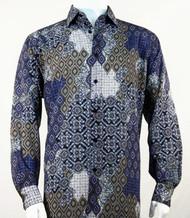 Bassiri Blue & Taupe Baroque Pattern Long Sleeve Camp Shirt