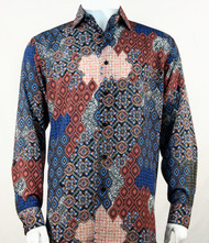 Bassiri Blue & Coral Baroque Pattern Long Sleeve Camp Shirt