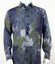 Bassiri Blue & Olive Baroque Pattern Long Sleeve Camp Shirt