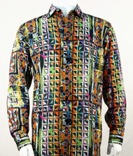 Bassiri Lime Festive Motif Long Sleeve Camp Shirt