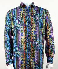 Bassiri Blue Festive Motif Long Sleeve Camp Shirt