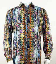 Bassiri Gold Festive Motif Long Sleeve Camp Shirt