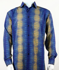 Bassiri Gold & Royal Print Long Sleeve Camp Shirt