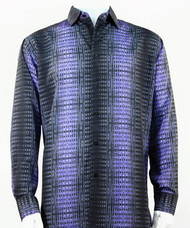 Bassiri Black & Purple Print Long Sleeve Camp Shirt