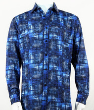 Bassiri Blue Abstract Print Long Sleeve Camp Shirt