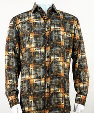Bassiri Brown Abstract Print Long Sleeve Camp Shirt