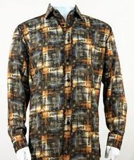Bassiri Brown Abstract Print Long Sleeve Camp Shirt