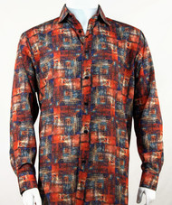 Bassiri Dark Orange Abstract Print Long Sleeve Camp Shirt