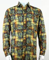 Bassiri Light Gold Abstract Print Long Sleeve Camp Shirt