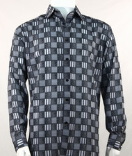 Bassiri Charcoal Checkered Long Sleeve Camp Shirt